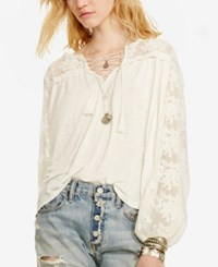 Denim And Supply Ralph Lauren Embroidered Bohemian Top Antique Cream