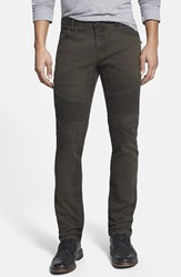 Rogue Garment Dyed Slim Fit Moto Jeans Olive