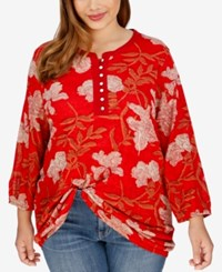 Lucky Brand Trendy Plus Size Floral Print Peasant Blouse Medium Red