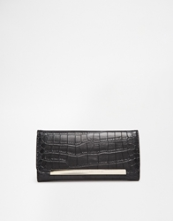 French Connection Foldover Croc Look Purse In A Box Black