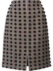 Sonia Rykiel Plaid Pattern Straight Skirt Brown