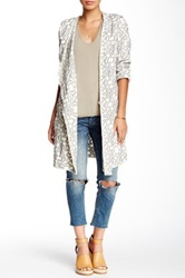 Biya Embroidered Knit Long Cardigan White