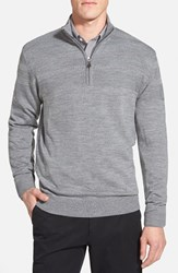 Men's Big And Tall Cutter And Buck 'Douglas' Merino Wool Blend Half Zip Sweater Mid Grey Heather