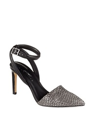 424 Fifth Baylee Suede Ankle Strap Pumps Black White