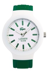 Lacoste 'Borneo' Silicone Strap Watch 44Mm Green White