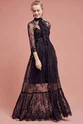 Anthropologie Laced Victorian Maxi Dress Black