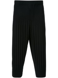 Homme Plissa Issey Miyake Pleated Cropped Trousers Black