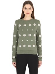 Versus Embellished Cotton Jersey Sweatshirt