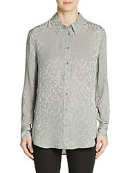 Equipment Reese Silk Leopard Print Blouse Frost Gray