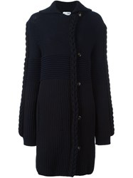 Sonia Rykiel Braid Knit Cardi Coat Blue