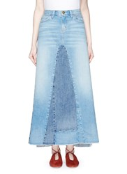 Current Elliott 'The Reconstructed' Denim Maxi Skirt Blue