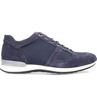 Corneliani Suede And Leather Trainers Navy