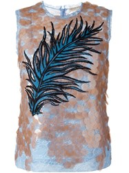 Emilio Pucci Sequined Feather Embroidery Top Nude And Neutrals