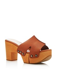 Robert Clergerie Cetri Slide Platform Clog Sandals Brown