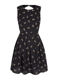 Yumi Gold Owl Print Skater Dress Black