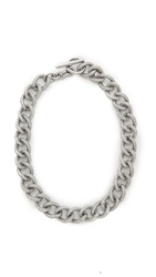 Michael Kors Pave Curb Link Toggle Necklace Silver Clear
