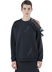 Christopher Kane Asymmetric Cut Out Frilled Sweater Black