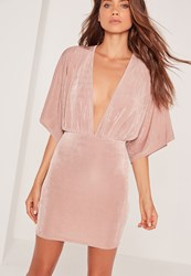 Missguided Slinky Plunge Kimono Sleeve Mini Dress Pink Red