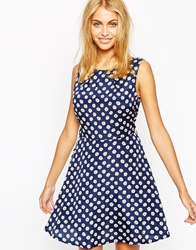 Jasmine Skater Dress In Daisy Print Blue
