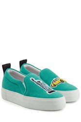 Joshua Sanders Felted Wool Slip On Sneakers Turquoise