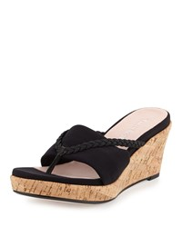 Taryn Rose Keely Braided Cork Wedge Sandal Black