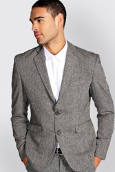 Boohoo Fit Tweed Blazer Grey