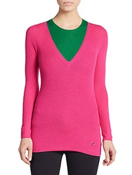 Christian Dior Cashmere And Silk Rib Knit Two In One Sweater Rose Multi