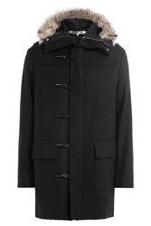 Mcq By Alexander Mcqueen Duffle Parka With Wool And Faux Fur Trim Black