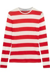 Max Mara Striped Stretch Jersey Top Red
