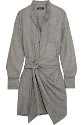 Isabel Marant Khol Wrap Effect Woven Mini Dress Gray