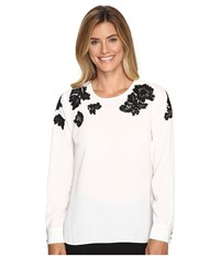 Vince Camuto Long Sleeve Blouse With Sequin Lace Applique New Ivory Women's Blouse Bone