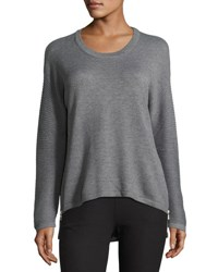 P. Luca Ribbed Sleeve High Low Side Zip Sweater Charcoal