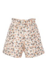 Mother Of Pearl Cotton Silk Ruffle Waist Terry Shorts Floral