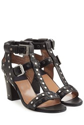 Laurence Dacade Embellished Leather T Strap Sandals Black