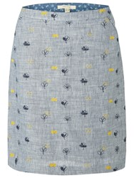 White Stuff Ink And Pen Embroidered Skirt Blueberry Blue