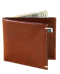 Tasso Elba Invecchiato Italian Leather Slim Billfold Wallet Tan