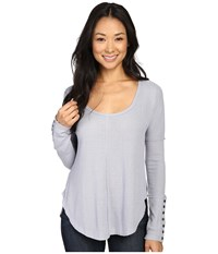 Lucky Brand Thermal Tee Dapple Grey Women's T Shirt Gray