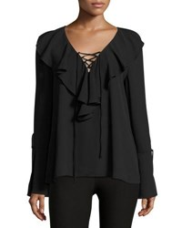 Label By 5Twelve Long Sleeve Ruffle Front Blouse Black