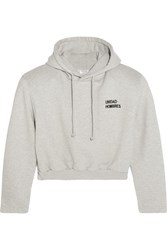 Vetements Cropped Embroidered Cotton Blend Hooded Sweatshirt Light Gray