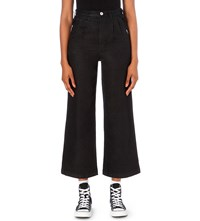 Chocoolate Cropped Flared High Rise Jeans Black