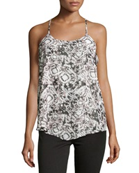 Romeo And Juliet Couture Printed Chiffon Racerback Tank Gray