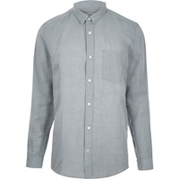 River Island Mens Grey Relaxed Fit Linen Rich Shirt
