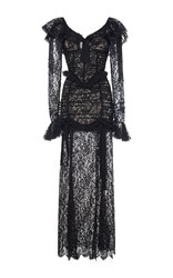 Alessandra Rich Long Sleeve Ruched Lace Gown Black