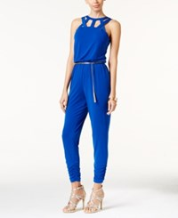 Thalia Sodi Cutout Belted Jumpsuit Only At Macy's Lazulite