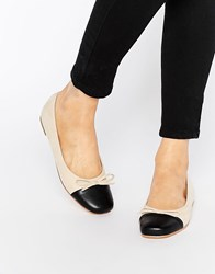 London Rebel Square Toecap Ballet Flats Cream Black