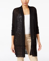Jm Collection Lace Trim Duster Cardigan Only At Macy's Deep Black