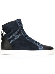 Hogan Rebel Metallic Skin Effect Hi Tops Blue