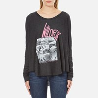 Wildfox Couture Women's Ca Perry Thermal Long Sleeve Top Clean Black
