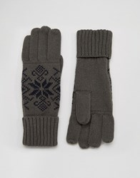 French Connection Touch Screen Gloves Grey