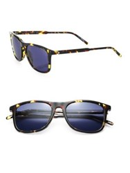 Montblanc 54Mm Star Emblem Soft Rectangle Sunglasses Blue